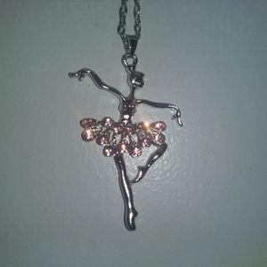 Jewelry - BALLET DANCER NECKLACE - Silver Rhinestone Jewelry